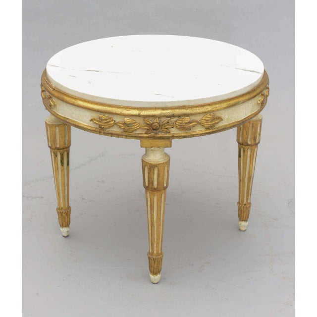 Louis XVI Giltwood Accent Table With Carrara Marble Top For Sale In West Palm - Image 6 of 10