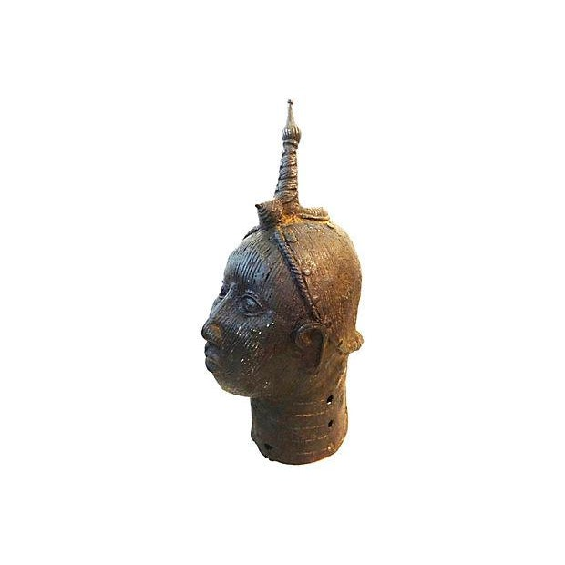 """Superb large Bronze brass Oba (king) head sculpture. Restoration, loss and holes in the cast...9"""" L x 7"""" W x 17"""" H"""