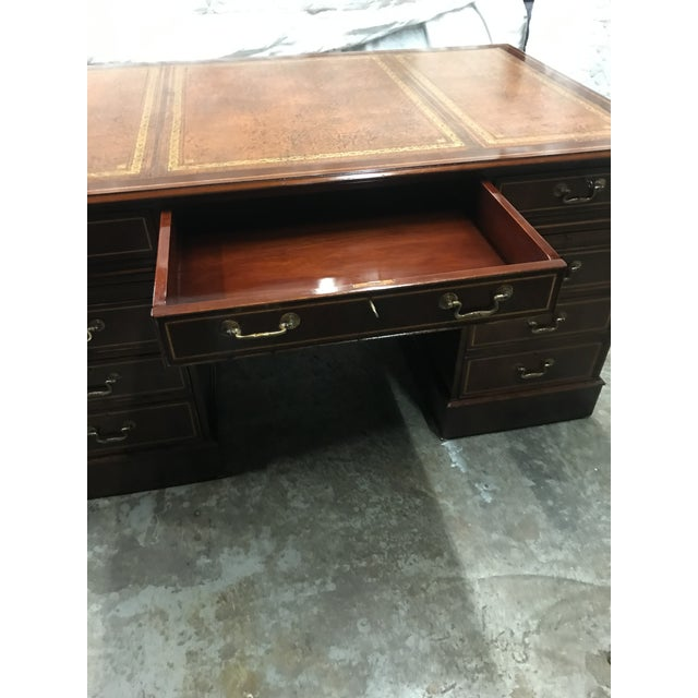 Wood English Custom Made Executive Desk For Sale - Image 7 of 10