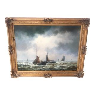"Original ""Fleet of Clipper Ships Emerging From Thunderstorm"" Oil Painting"