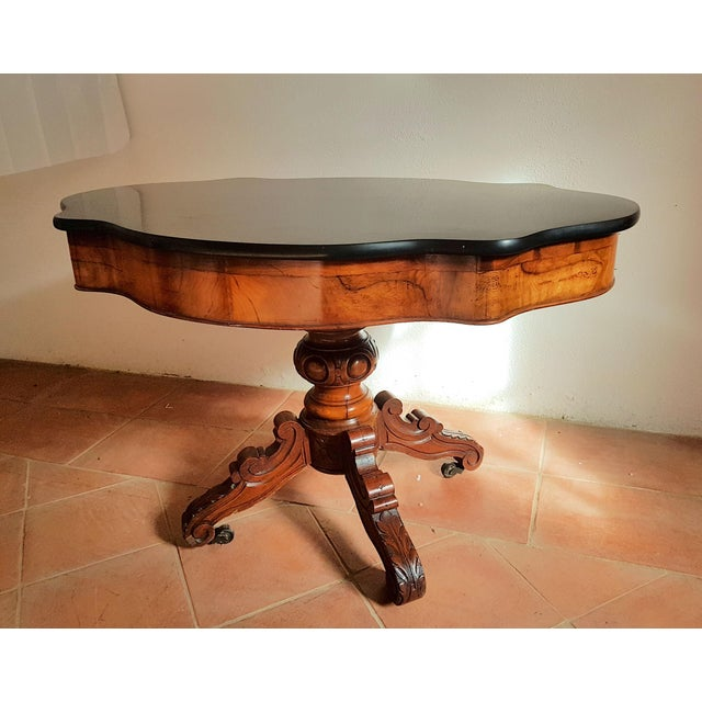 Antique Walnut and Black Marble Top Table, France 1890s For Sale - Image 4 of 12