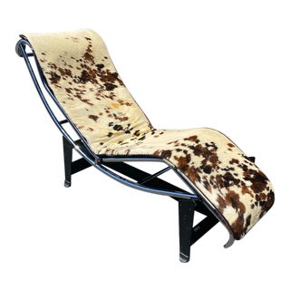 Vintage Pony Leather and Steel Chaise Lounge Chair For Sale