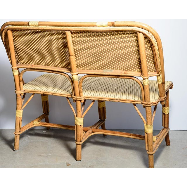 French Rattan and Bamboo Bench, Settee, Banquette or Loveseat made by HBM J. GATTI Fabrication Artisanale Française, 1970s
