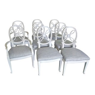 Henredon Furniture Acquisitions Neapolitan Distress White Dining Chairs- Set of 8 For Sale