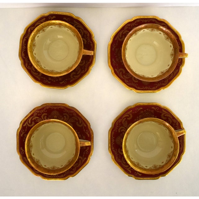 1930s Heinrich and Co. Selb H & C Bavaria German Porcelain Red and Gold Encrusted Tea Cup and Saucer - Service for 4 For Sale - Image 5 of 12