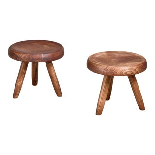 Charlotte Perriand Pair of Low Ash Stools, France For Sale