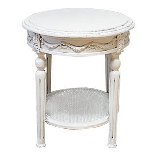19th Century Louis XVI Style Painted Cane and Marble Side Table With Rose Swags For Sale