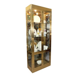 Mastercraft Lighted Brass Curio Display Cabinet For Sale