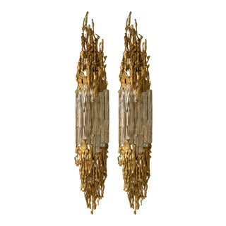 Pair of Bronze Murano Glass Sconces by Claude Victor Boeltz, France, 1970s For Sale