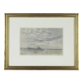 1930s Landscape Watercolor & Pencil Painting by Henri Foreau, Framed For Sale