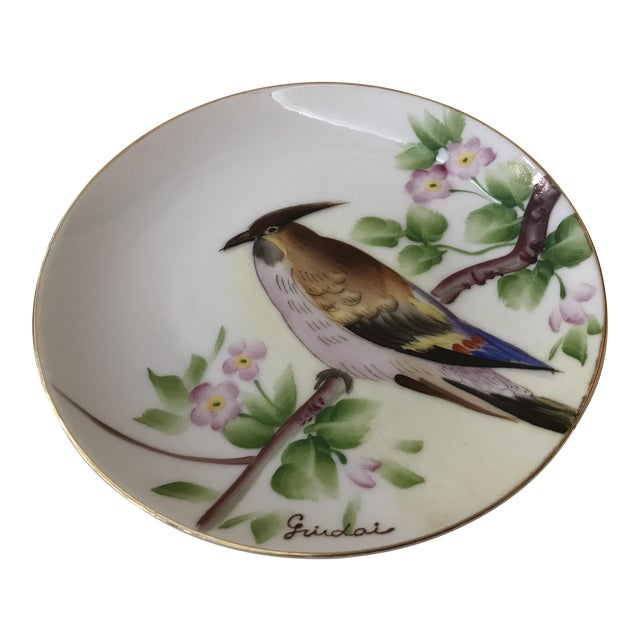 Guidai Japanese Hand Painted Bird Plate For Sale