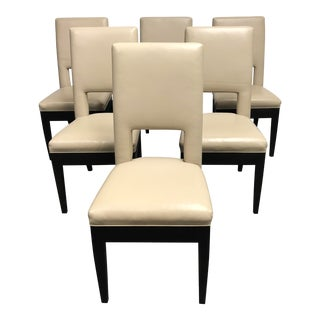Modern Custom Leather Dining Chairs- Set of 6 For Sale