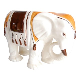 Vintage Ceramic Elephant Planter For Sale