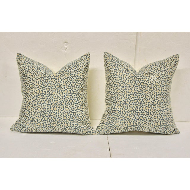 Lovely pair of dusty blue, pale pink and cream leopard pattern pillows. Soft, beautiful colors in the leopard fabric on...