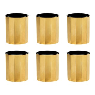 ARTEL Faceted Gilded Double Old Fashioned Glasses, Gold, Set of 6 For Sale
