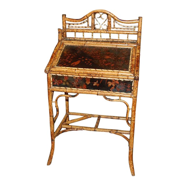 Antique English Oriental Motif Bamboo Slope Front Desk For Sale