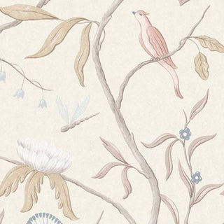 """Lewis & Wood Adam's Eden Mother of Pearl Extra Wide 51"""" Botanic Style Wallpaper - 1 Yard For Sale"""