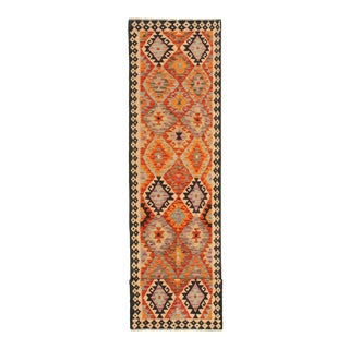"Earth Color Turkish Wool Kilim Runner-2'8"" X 12'5"" For Sale"