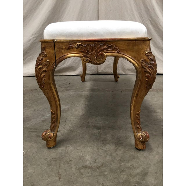19th Century Italian Antique Upholstered Vanity Bench For Sale - Image 4 of 11