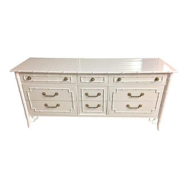 Thomasville White Lacquered Faux Bamboo Allegro Dresser For Sale