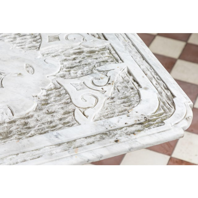 Metal 19th Century Castel Franco Hand Chiseled Marble Table with Iron Base For Sale - Image 7 of 12