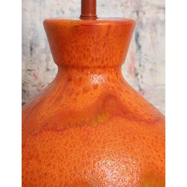 Ceramic Pair of Monumental Sized Orange Mottled Glaze Ceramic Lamps For Sale - Image 7 of 8