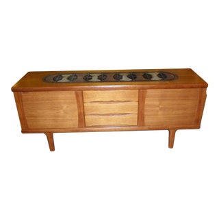 1960s Danish Mid-Century Modern Tile Top and Teak Credenza Buffet For Sale