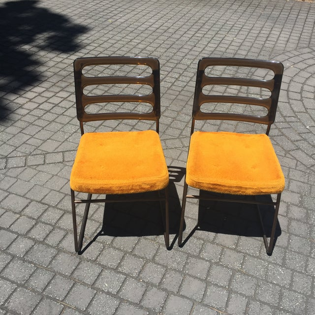 Mid-Century Chrome Craft Amber Lucite & Orange Chairs - A Pair - Image 3 of 10