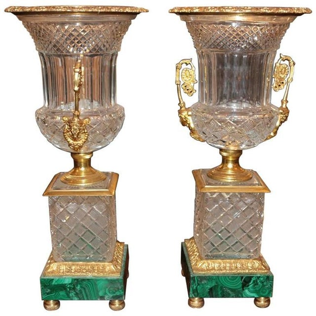 Neoclassical Style Cut Glass Bronze & MalachiteUrns - A Pair - Image 7 of 7