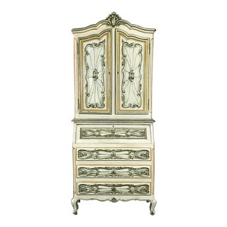 Italian Hand Painted Secretary ~ Bookcase From Torino, Italy For Sale