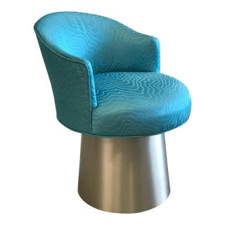 1960s Italian Clark & Clark Turquoise Swivel Chair For Sale