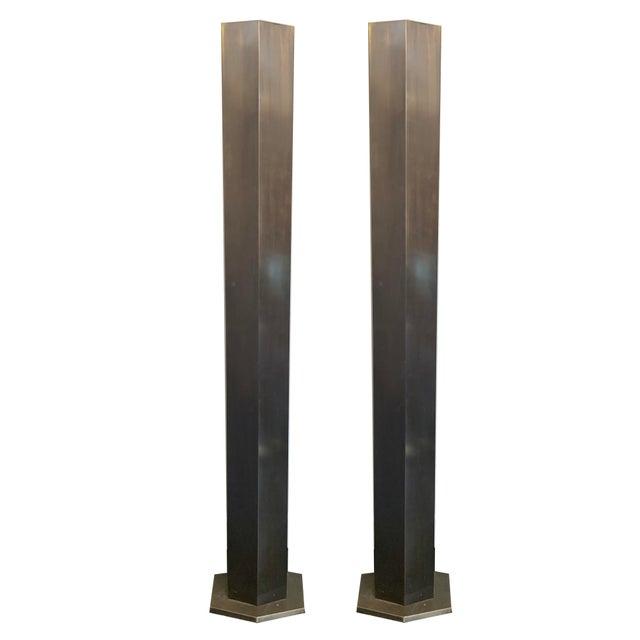 1980s Pair of Brass Hexagonal Floor Lamps For Sale - Image 5 of 5