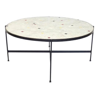 Black Wrought Iron With Inset Glass Tile Top Coffee Table For Sale