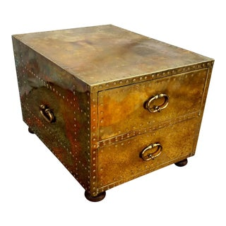 1970s Campaign Sarreid Ltd. Brass Two-Drawer Chest/Side Table For Sale