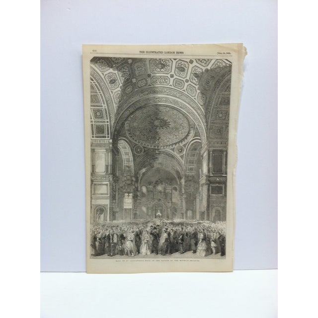 """Mid 19th Century 1856 Antique """"Ball in St. Alexander's Hall in the Palace of the Kremlin"""" The Illustrated London News Print For Sale - Image 5 of 5"""