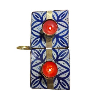 Moroccan Ceramic Candle Holder With Traditional Tiles From Fes For Sale