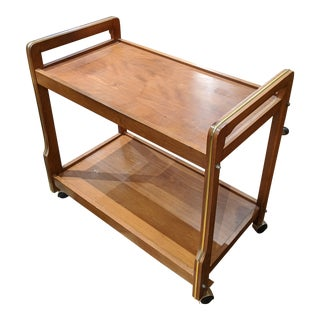 Mid 20th Century Teak & Brass Rolling Bar Cart For Sale