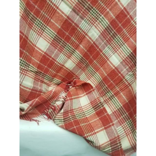 Wool Throw Reds Black White Plaid - Made in England For Sale - Image 4 of 8