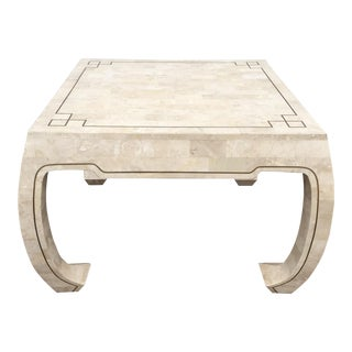 Asian Inspired Stone & Brass Table For Sale