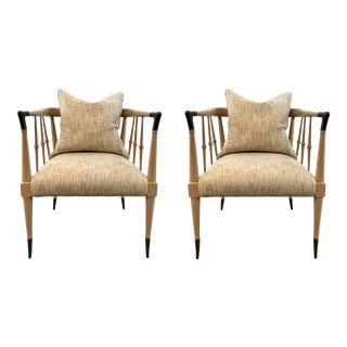 Caracole Couture Modern Beige Finesse Accent Chairs Pair For Sale