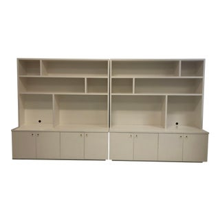 Custom White Bookcases - a Pair For Sale