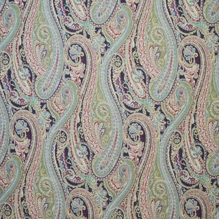 Boho Chic Clarence House Orsini Paisley Linen Designer Fabric by the Yard For Sale
