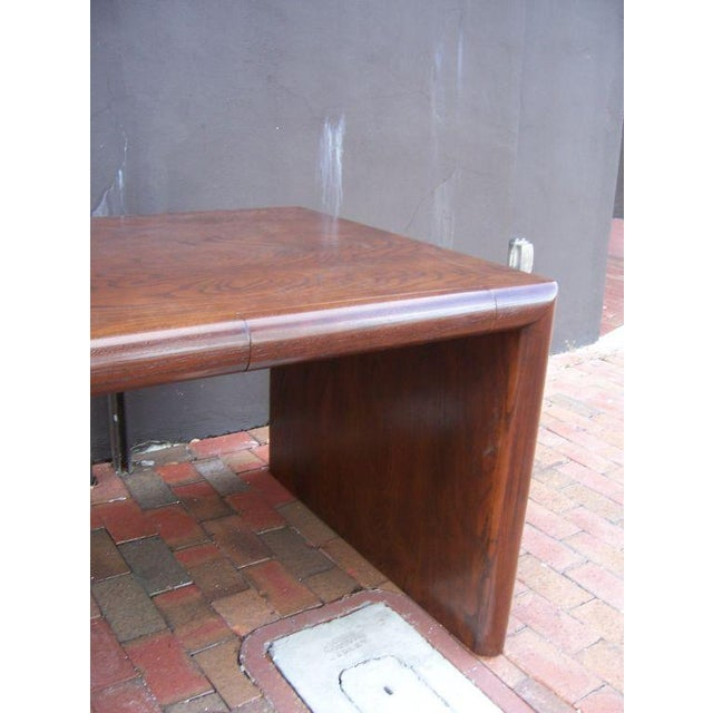 Phenomenal executive desk with beautiful exposed wood grain and two lateral drawers. Rounded borders in front and back -...
