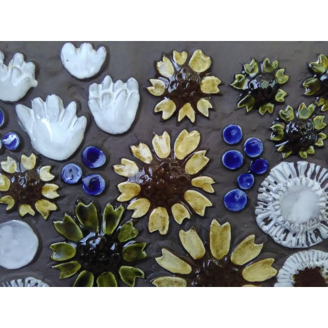 Mid-Century Swedish Ceramic Floral Wall Plaque For Sale In Miami - Image 6 of 6
