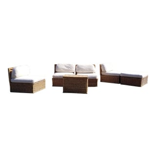 1970s Michael Taylor Style Rattan Modular Seating, 5 Pieces For Sale