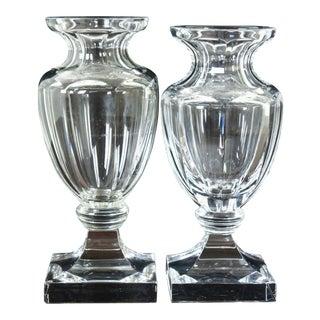 Vintage Faberge Crystal Footed Trophy Pedestal Vases - a Pair For Sale