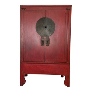 Red Lacquered Hong-Chu Cabinet For Sale