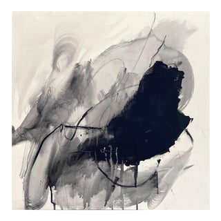 """Contemporary Abstract Acrylic, Charcoal and Graphite on Canvas Painting """"Monochrome Abstraction Part 1"""" by Adrienn Krahl For Sale"""