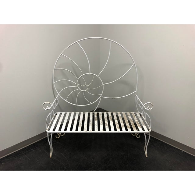 Rare vintage Art Nouveau garden bench in wrought iron. Overall: 51w 22d 56.5h, Seat: 41w 19.5d 16h Good vintage condition....