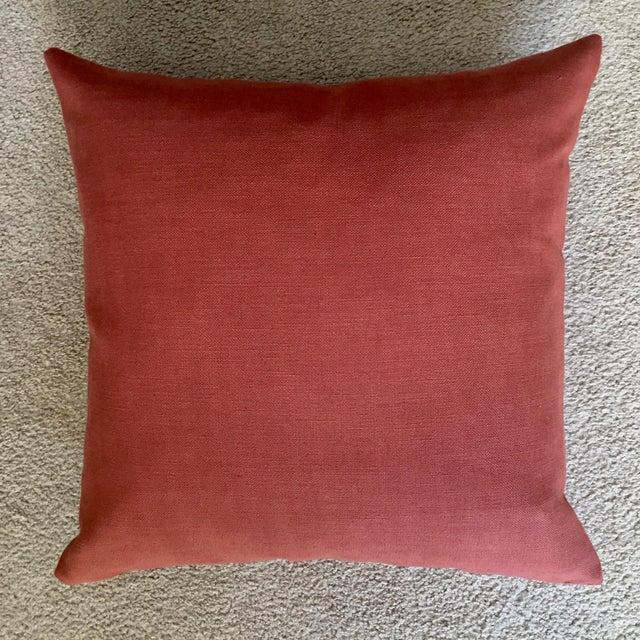 Linen Linen & Velvet Accent Pillow-Feather Insert For Sale - Image 8 of 10